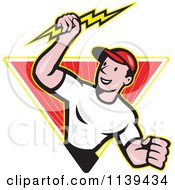 Clipart Of A Retro Electrician Holding A Bolt In A Ray Diamond Royalty Free Vector Illustration by patrimonio