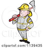 Clipart Of A Retro Fireman With An Axe Royalty Free Vector Illustration