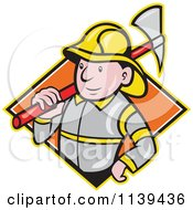 Clipart Of A Retro Fireman With An Axe Over A Diamond Royalty Free Vector Illustration