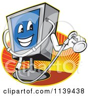 Clipart Of A Computer Monitor Mascot Holding A Diagnostics Stethoscope Over Rays Royalty Free Vector Illustration