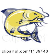 Clipart Of A Retro Jumping Yellow And Blue Catfish Royalty Free Vector Illustration