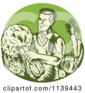 Clipart Of A Retro Woodcut Green Organic Farmer With With Produce Royalty Free Vector Illustration