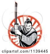 Clipart Of A Retro Grayscale Samurai Warrior And Katana Sword Over A Circle Of Rays Royalty Free Vector Illustration by patrimonio