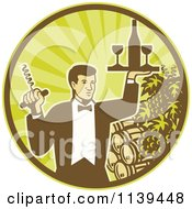 Clipart Of A Retro Waiter Carrying Wine And A Corkscrew In A Circle Of Rays Grapes And Barrels Royalty Free Vector Illustration