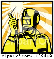 Clipart Of A Retro Welder Holding A Torch Torch In A Square Of Rays Royalty Free Vector Illustration