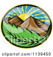 Clipart Of A Retro Oval Of The Sun Mountains And Leaf Royalty Free Vector Illustration