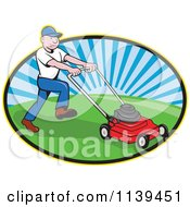 Clipart Of A Retro Landscaper Mowing A Lawn Royalty Free Vector Illustration by patrimonio