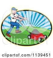 Retro Landscaper Mowing A Lawn