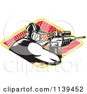 Clipart Of A Retro Hunter Shooting A Rifle In A Diamond Of Rays Royalty Free Vector Illustration by patrimonio