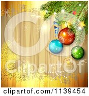 Clipart Of A Wood Christmas Background Of Baubles On A Tree Branch With Gold And Snowflakes Royalty Free Vector Illustration by merlinul