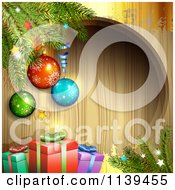 Clipart Of A Wood Christmas Background With Baubles Branches And Gifts 1 Royalty Free Vector Illustration by merlinul