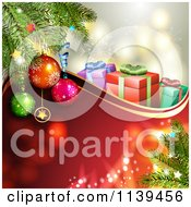 Clipart Of A Christmas Background Of Gifts And Branches Over Red 2 Royalty Free Vector Illustration by merlinul