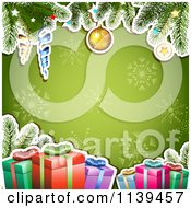 Clipart Of A Christmas Background Of Gifts And Branches Over Green Snowflakes Royalty Free Vector Illustration by merlinul