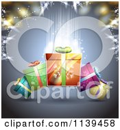 Clipart Of A Christmas Background Of Gifts And Glowing Lights 2 Royalty Free Vector Illustration by merlinul