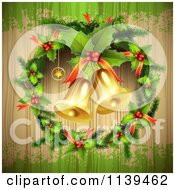Clipart Of A Wood Christmas Background With Jingle Bells A Holly Wreath And Green Grunge Royalty Free Vector Illustration by merlinul