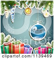 Clipart Of A Christmas Background Of Santas Sleigh Gifts And Branches Over Blue 1 Royalty Free Vector Illustration by merlinul