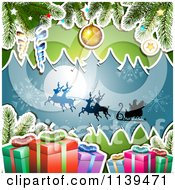 Clipart Of A Christmas Background Of Santas Sleigh Gifts And Branches Over Blue 2 Royalty Free Vector Illustration by merlinul