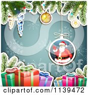 Clipart Of A Christmas Background Of Santa Gifts And Branches Over Blue Royalty Free Vector Illustration by merlinul