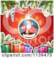 Clipart Of A Christmas Background Of Santa Gifts And Branches Over Red 1 Royalty Free Vector Illustration by merlinul