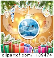 Clipart Of A Christmas Background Of Santas Sleigh Gifts And Branches Over Orange Royalty Free Vector Illustration by merlinul