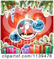 Clipart Of A Christmas Background Of Santa Gifts And Branches Over Red 2 Royalty Free Vector Illustration by merlinul