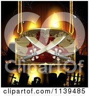 Clipart Of A Pirate Ship And Crossed Sword Sign Over A Cemetery With Creepy Eyes Royalty Free Vector Illustration by merlinul
