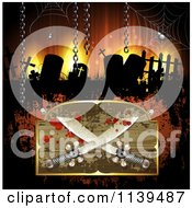 Clipart Of A Pirate Sword Sign Over A Cemetery With Creepy Eyes Royalty Free Vector Illustration by merlinul