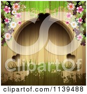 Clipart Of A Wood Background With Flowers And Green Grunge Royalty Free Vector Illustration