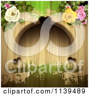Clipart Of A Wood Background With Roses And Green Grunge 1 Royalty Free Vector Illustration