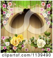 Wood Background With Roses And Green Grunge 2
