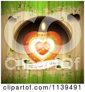 Valentines Day Heart Candle And Banner Over Wood With Green Grunge