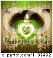 Green Valentines Day Heart Candle And Deer Over Wood With Green Grunge