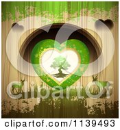 Valentines Day Tree Heart And Deer Over Wood With Green Grunge
