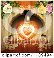 Valentines Day Heart Candle And Roses Over Wood With Orange Grunge