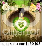Green Valentines Day Heart Candle And Roses Over Wood With Green Grunge