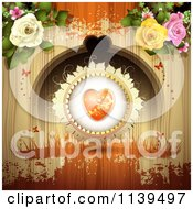 Valentines Day Heart And Roses Over Wood With Orange Grunge