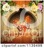 Valentines Day Heart Butterfly And Roses Over Wood With Orange Grunge