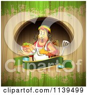 Clipart Of A Rasta Chef Chicken Over A Banner And Wood With Green Grunge Royalty Free Vector Illustration