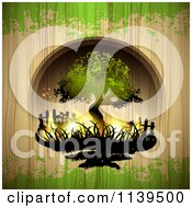 Clipart Of A Burning Tree Over Wood With Green Grunge Royalty Free Vector Illustration by merlinul