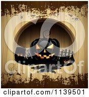 Black Halloween Jackolantern Pumpkins Over Wood With Brown Grunge