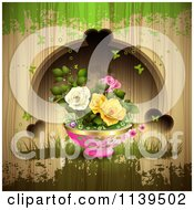 Clipart Of Potted Roses Butterflies And Hearts Over Wood With Green Grunge Royalty Free Vector Illustration