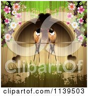 Clipart Of Love Birds And Hearts With Blossoms Over Wood With Green Grunge Royalty Free Vector Illustration