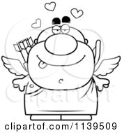 Cartoon Clipart Of A Black And White Valentines Day Cupid Vector Outlined Coloring Page