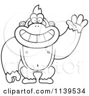 Cartoon Clipart Of A Black And White Friendly Waving Gorilla Monkey Vector Outlined Coloring Page
