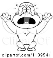 Cartoon Clipart Of A Black And White Panicking Orangutan Monkey Vector Outlined Coloring Page