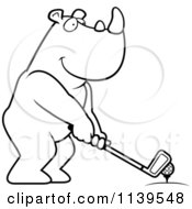 Cartoon Clipart Of A Black And White Golfing Rhino Holding The Club Against The Ball On The Tee Vector Outlined Coloring Page by Cory Thoman