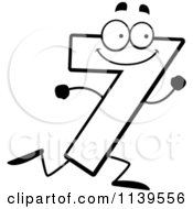 Cartoon Clipart Of A Black And White Running Number Seven Vector Outlined Coloring Page