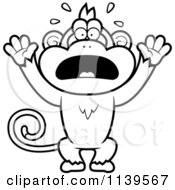Cartoon Clipart Of A Black And White Panicking Monkey Vector Outlined Coloring Page