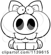 Cartoon Clipart Of A Black And White Cute Piglet Vector Outlined Coloring Page