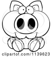 Cartoon Clipart Of A Black And White Piglet Sitting Vector Outlined Coloring Page